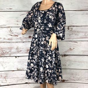 City Chic Navy w/Floral Print Dress - XXL